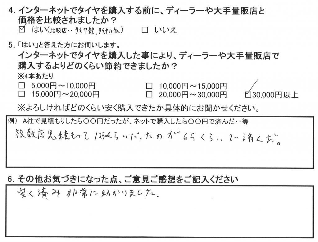ポルシェボクスター986、綾瀬市Y様のお客様の声アンケート画像です