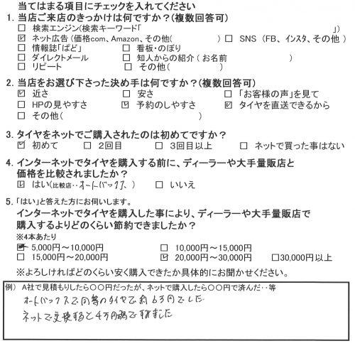 大和市M様 日産セレナのタイヤ交換で約2万円のお得!!