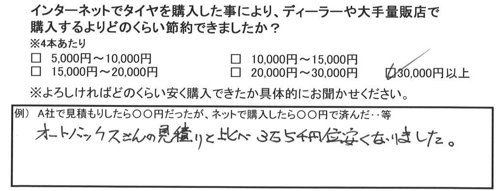 お得な実例*「3万5千円位安くなりました。」