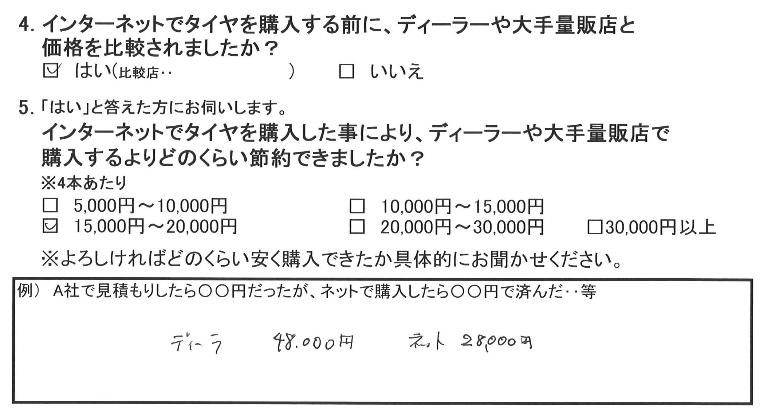 お得な事例*トヨタカムリ215/50R17 2万円のお得!!
