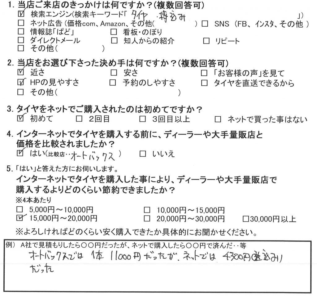 横浜市瀬谷区T様 ホンダフィットのタイヤが4本で15,000~20,000円のお得