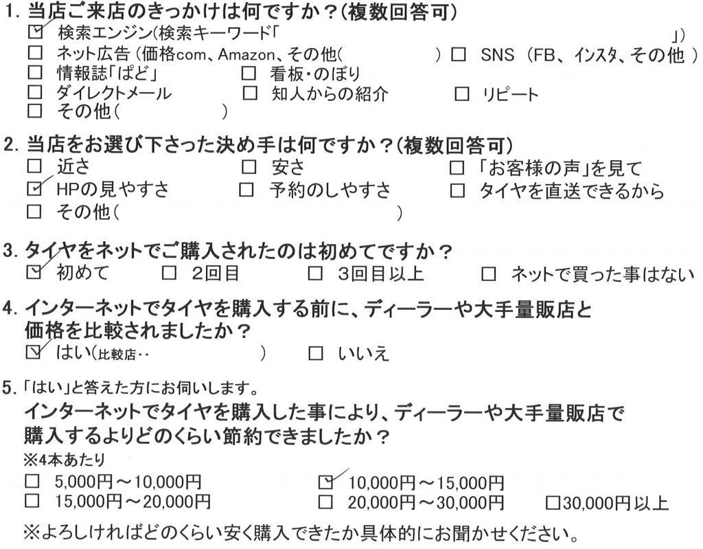 横浜市O様 日産ステージアステージアアクシスのタイヤ交換を承りました!