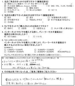 横浜市I様 クラウンのタイヤ交換「親身に大変安く取付して頂けて助かりました」