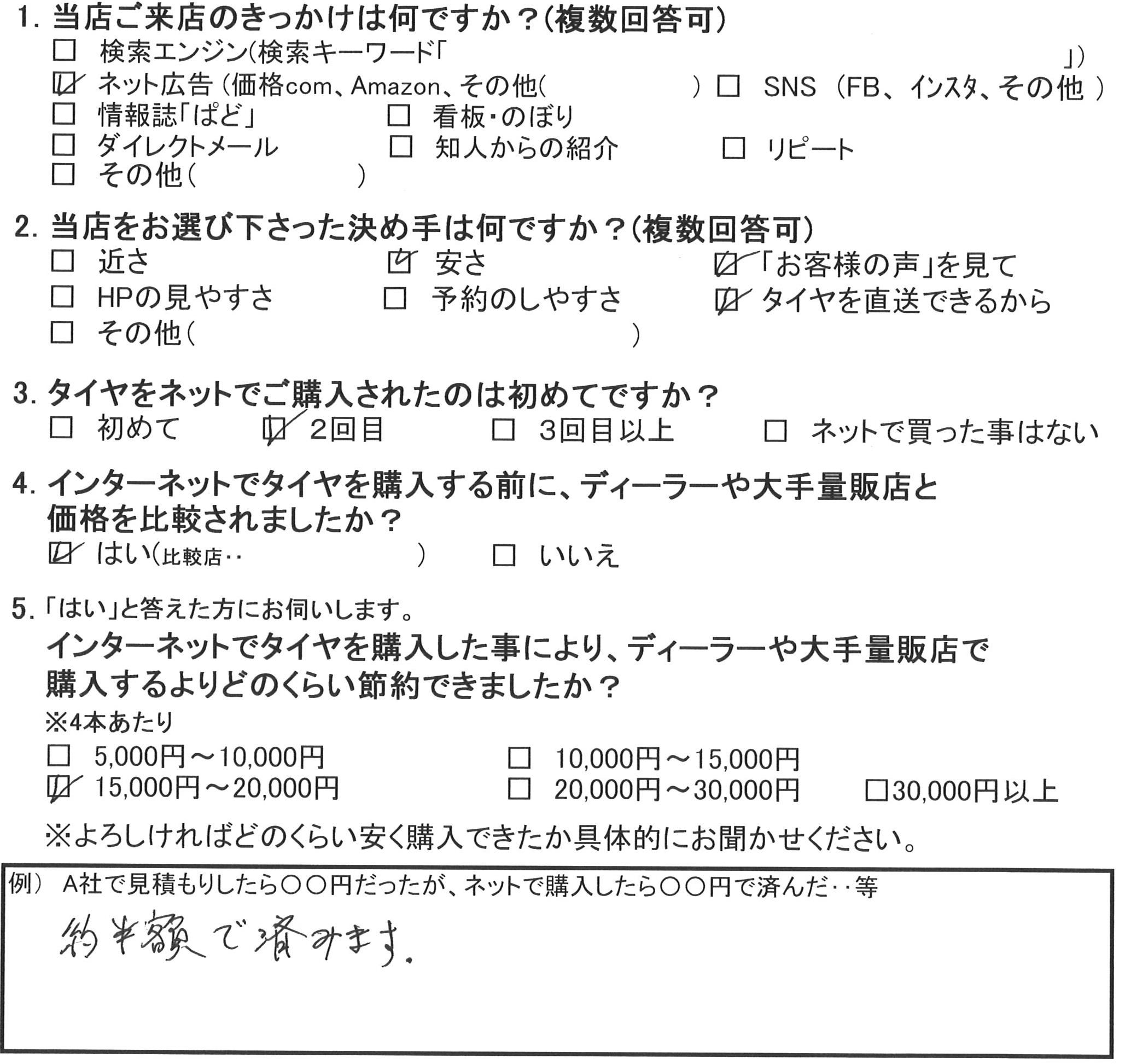 藤沢市Y様 アウディのタイヤ交換で約半額のお得