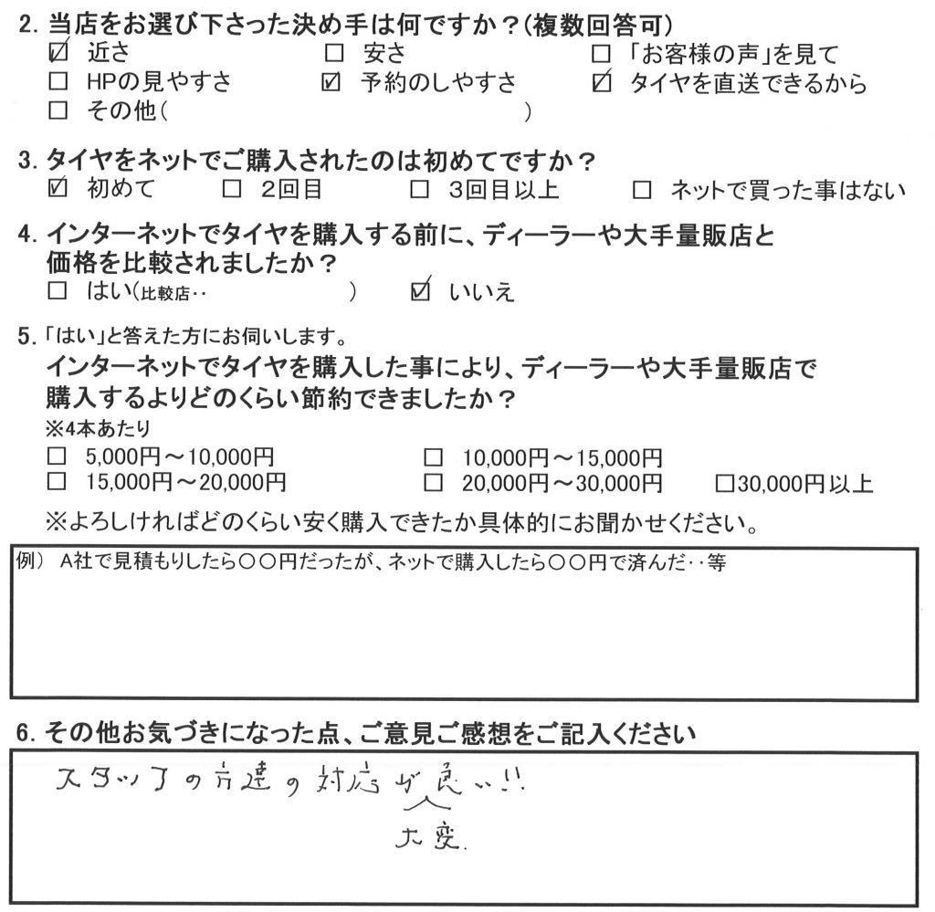 横浜市瀬谷区N様 ゴルフ3ガブリオレのタイヤ交換「スタッフの方達の対応が大変良い!」