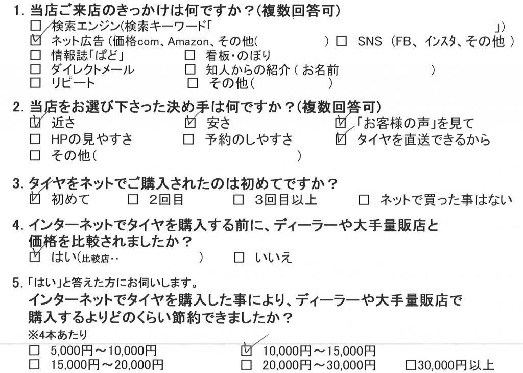 横浜市T様 ホンダフリードのタイヤ交換を承りました!