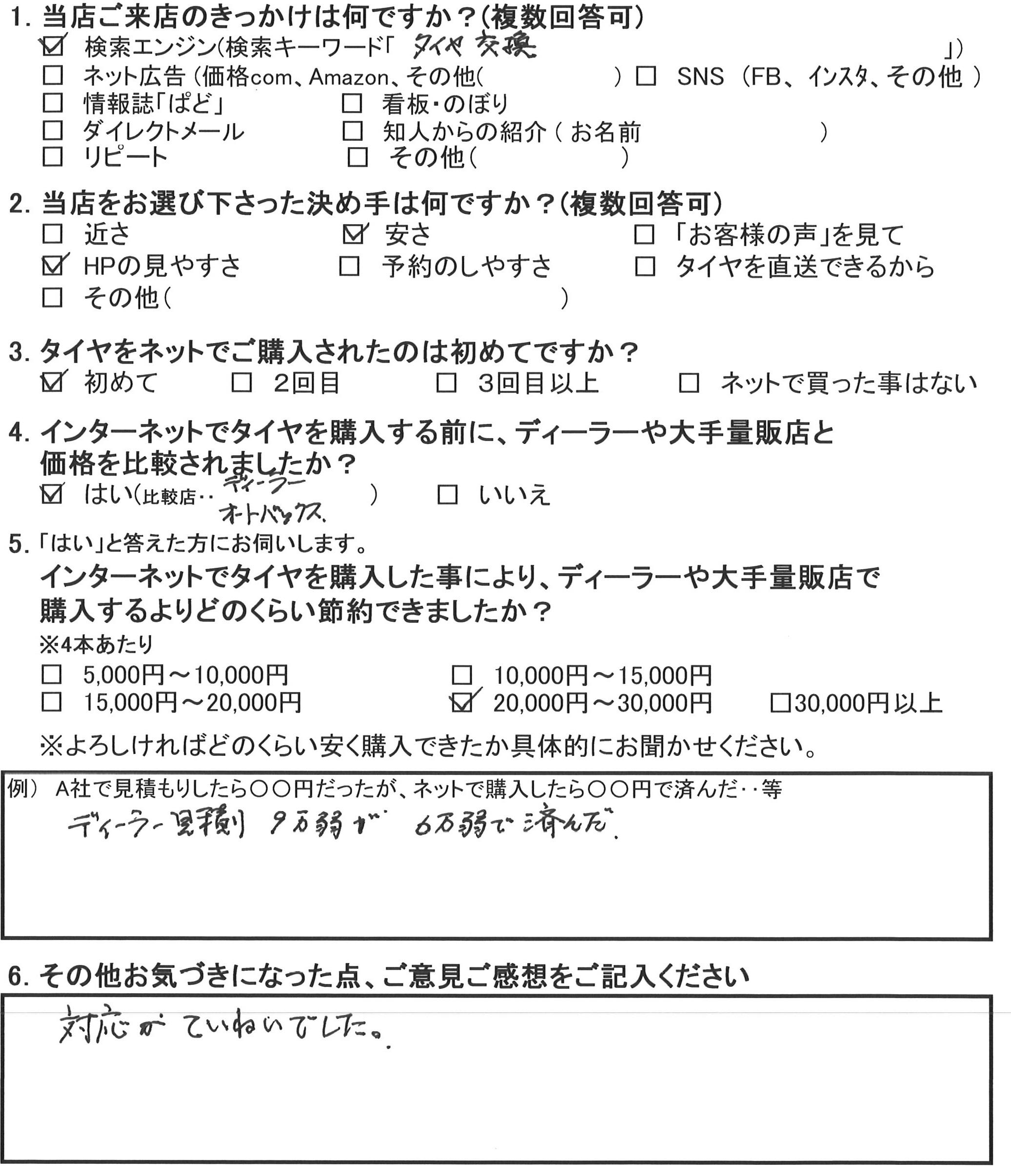 川崎市S様 ホンダオデッセイのタイヤ交換で約3万円のお得♪「対応が丁寧でした」