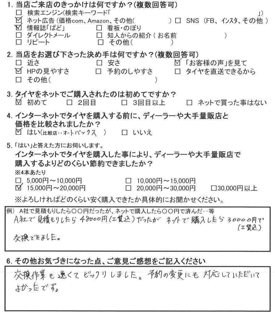 藤沢市S様 ホンダフィットのタイヤ4本交換「交換作業も速くてビックリしました!!