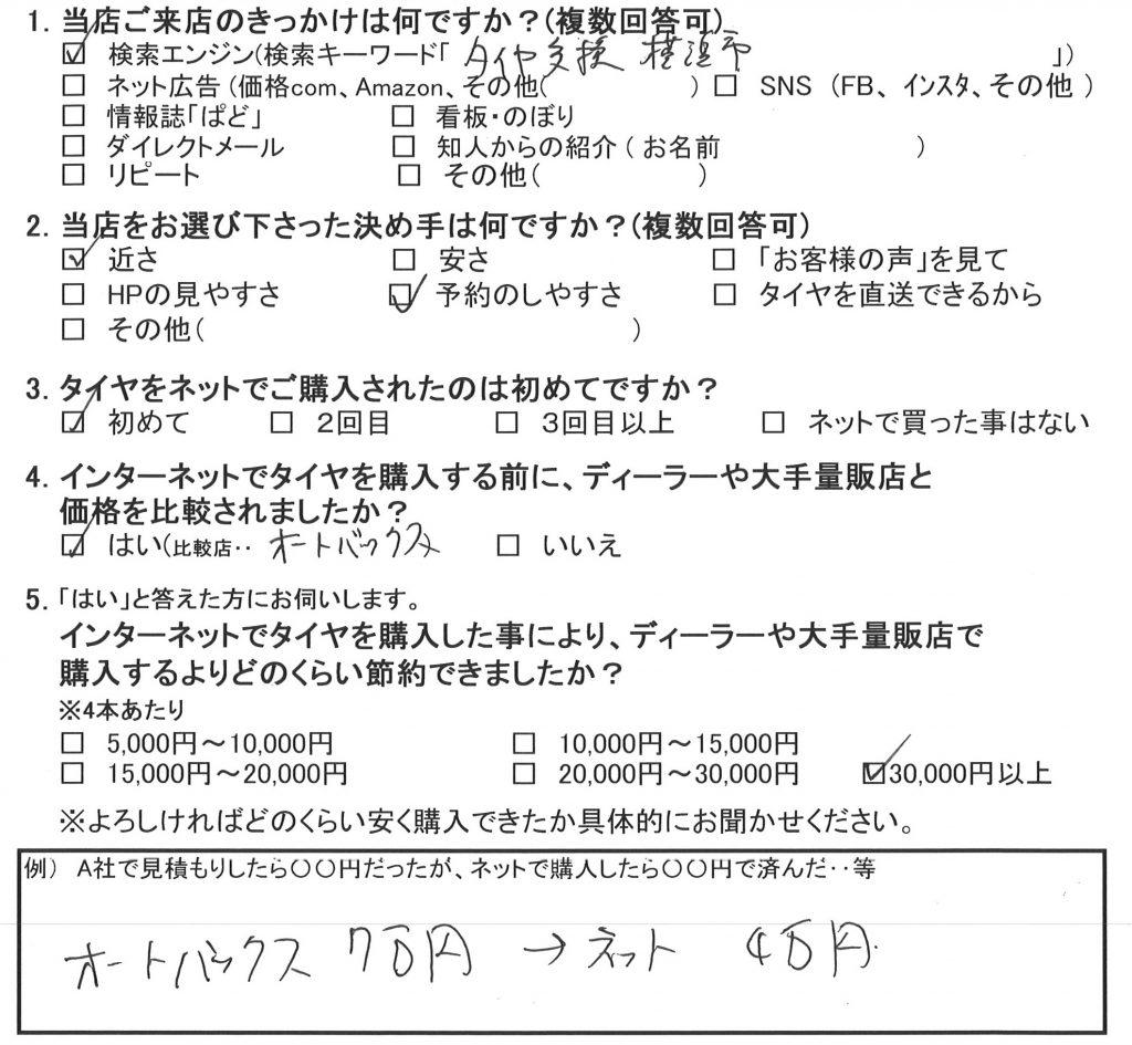横浜市泉区I様 マツダアテンザスポーツのタイヤ4本交換で約3万円のお得!!