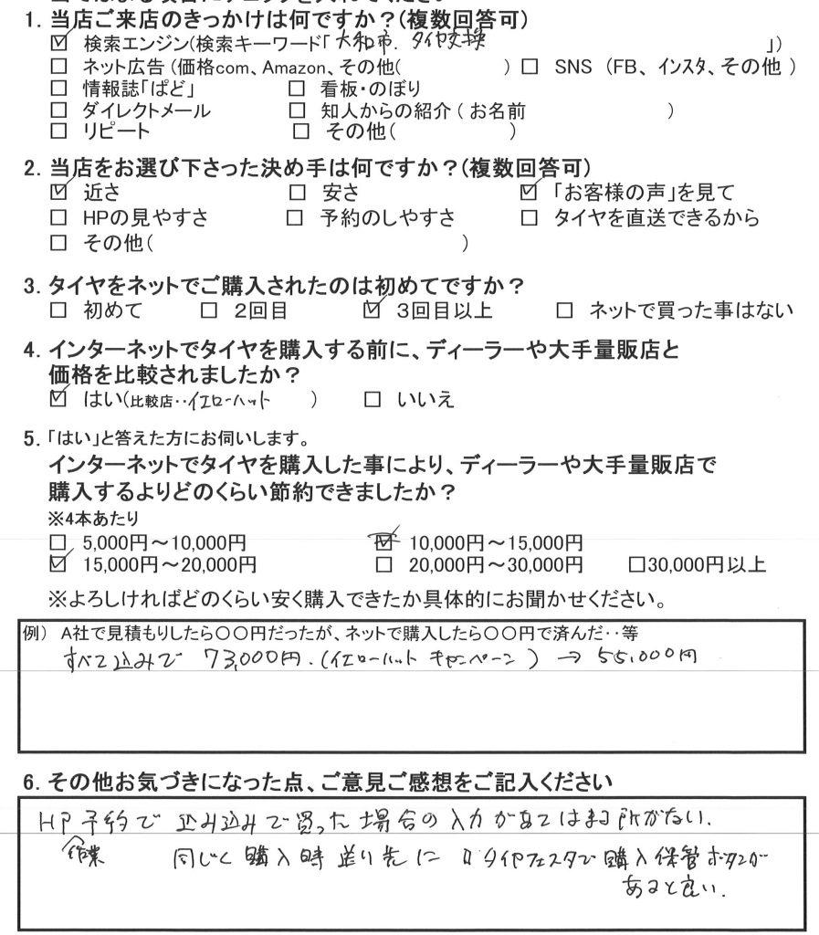 瀬谷区T様 タイヤフェスタ込み込みセットでタイヤ4本交換承りました!