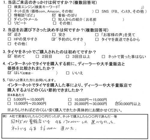 相模原市T様 シトロエンC6のタイヤ交換♪「量販店では¥170,000~しか選べなかったが・・」