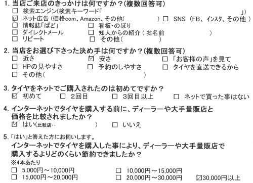 茅ヶ崎市K様 ランサーエボリューションのタイヤ交換を承りました。