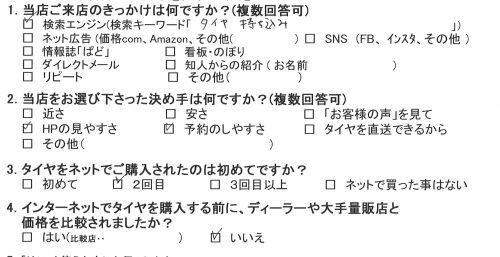 横浜市戸塚区I様 トヨタノアのタイヤ交換を承りました。