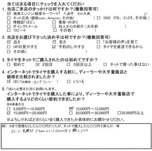 綾瀬市A様よりホンダステップワゴンのタイヤ交換を承りました。