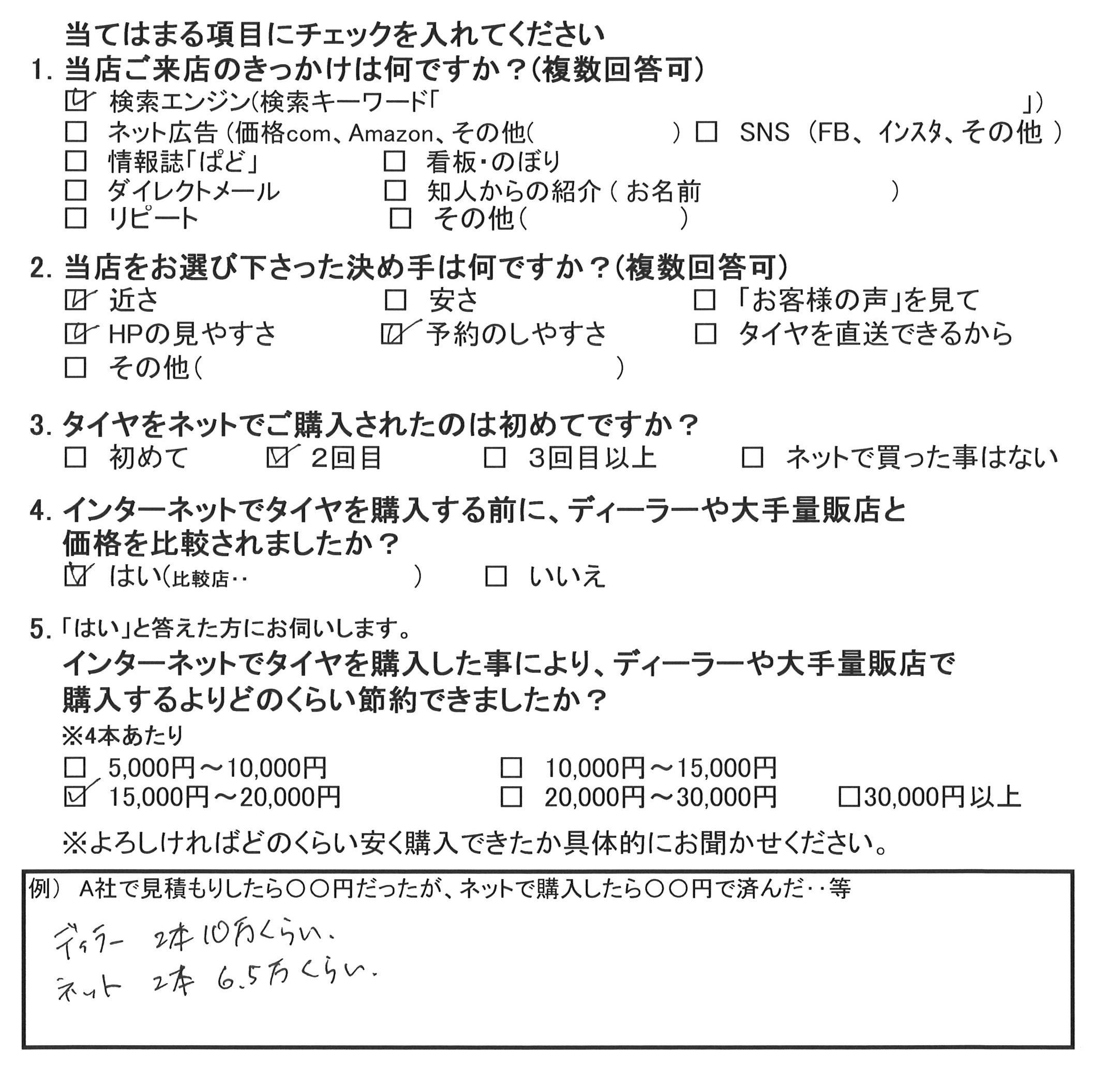 大和市A様 メルセデスC200のタイヤ交換で3万5千円のお得♪