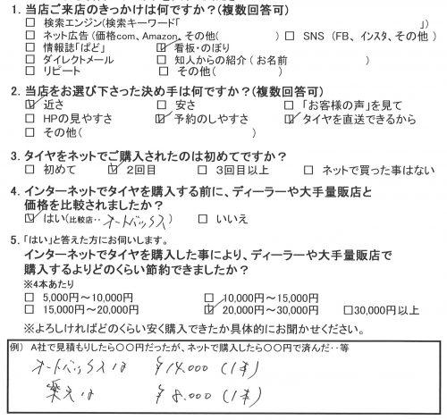 海老名市K様 ダイハツタント タイヤ4本交換で約3万円のお得!!