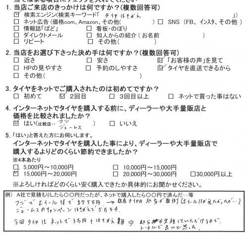 綾瀬市N様 日産セレナ タイヤ4本交換で約2万円のお得!!