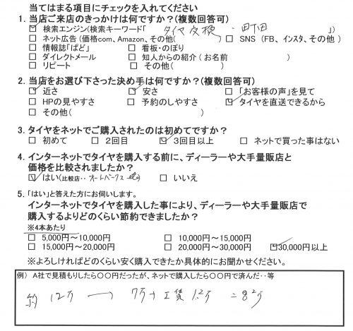 東京都町田市H様 エスティマのタイヤ交換で約4万円のお得♪